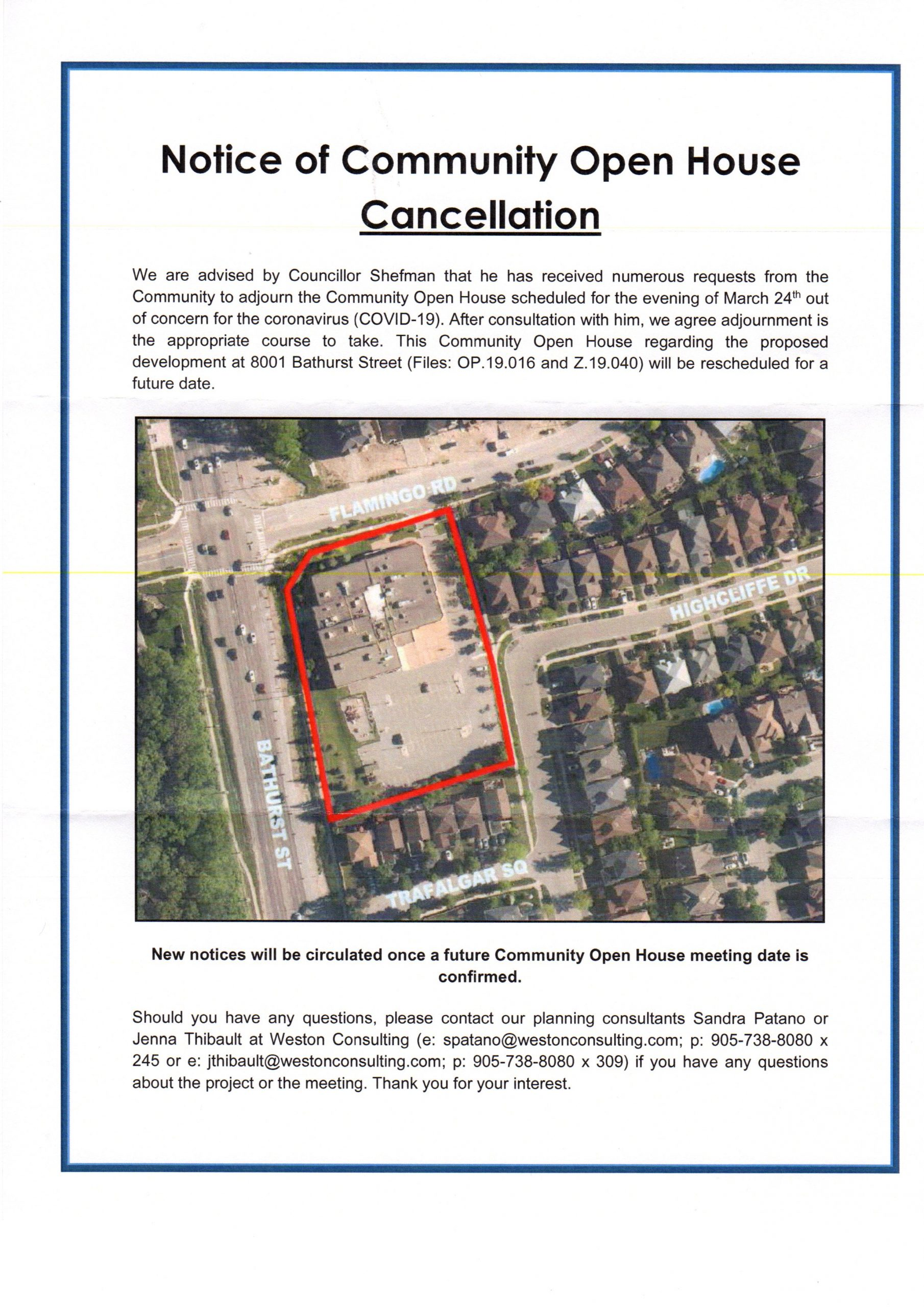 open house notice of cancellation
