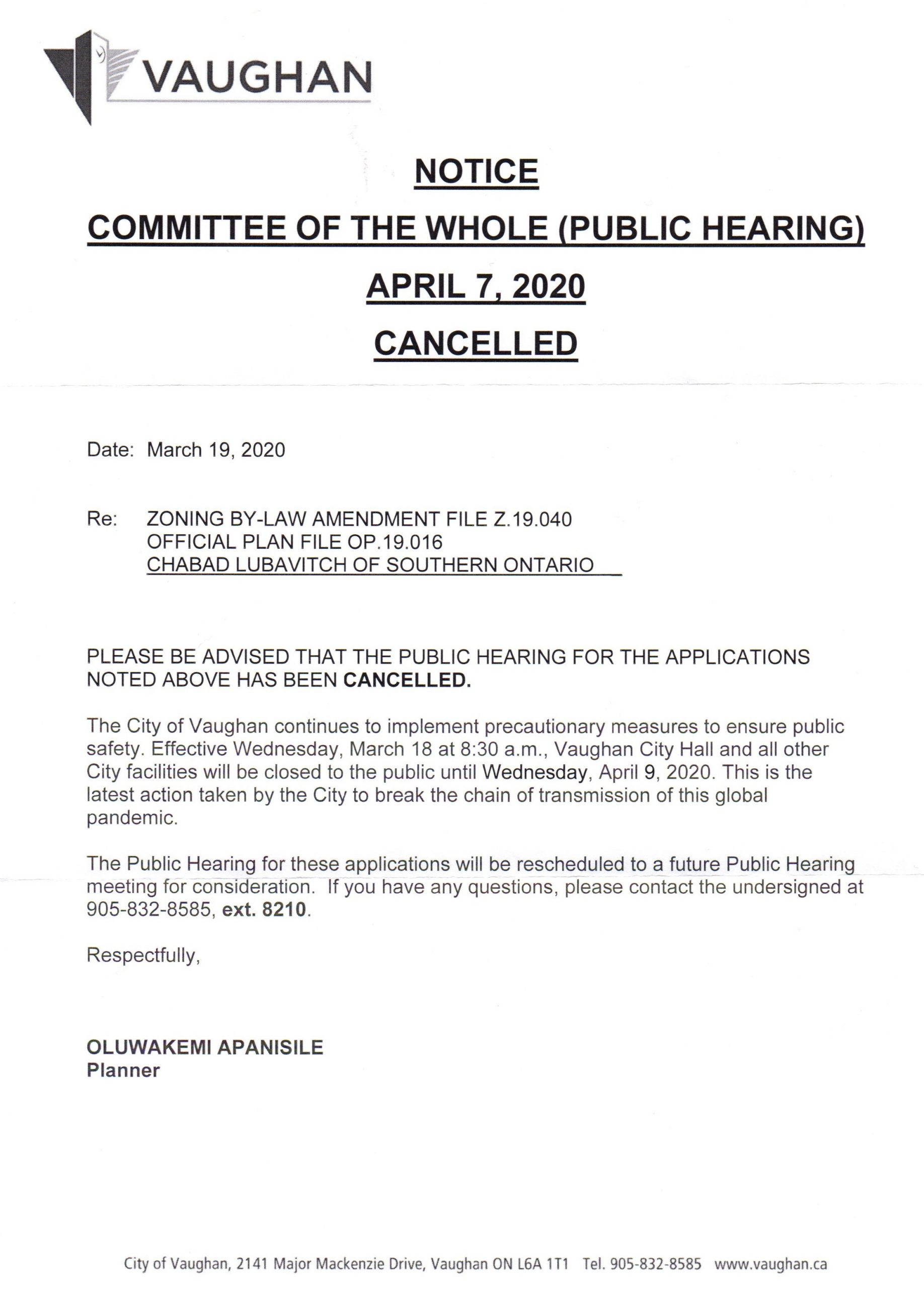 Notice of public hearing cancellation